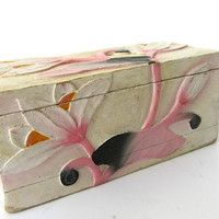 Shabby chic box. Floral box. Wood jewelry box. Decorative wooden box. Wood keepsake box. Rectangular box. Lotus decor. Mother's day gift.