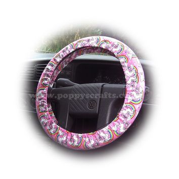 Unicorn's and Rainbow's on Pink cotton car steering wheel cover