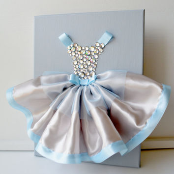Princess Dress wall art in blue and silver. 9X12 canvas.