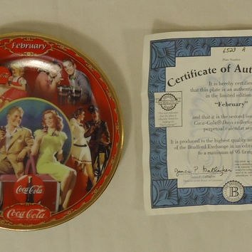 Bradford Exchange 6523A * Coca-Cola Collector Plate 5 3/4in Febuary 1999 Porcelain  --