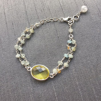 Lemon Quartz and Aquamarine Bracelet, Sterling Silver Chain, 7.5 inch bracelet, Handmade Gemstone Jewelry, Gifts for Women