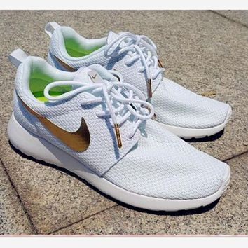 Nike Roshe Fashion Casual Black Golden Run Sport Casual Shoes Sneakers White golden hook G
