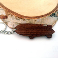 Zeppelin Wooden Keychain, Walnut Wood, Airship Keychain, Environmental Friendly Green materials