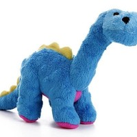 goDog Dinos Bruto Brontosaurus Dog Toy Sz: Small Blue