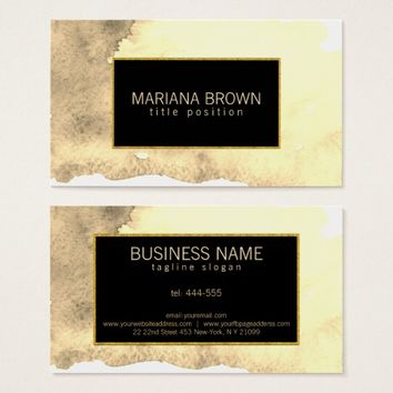 Beige Watercolor Background Gold Frame Business Card