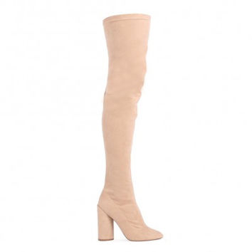 EVE ROUND HEEL LONG BOOTS IN NUDE FAUX SUEDE