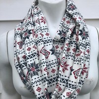 Christmas Scarf-Womens Handmade Holiday White Fair Isle Stripe Flannel Infinity Scarf-Men's Winter Scarf-Gifts for Her-Toddler Kids Scarf