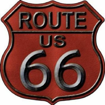 Red Metal Route 66 Highway Shield Sign  11 inch  die cut  sign