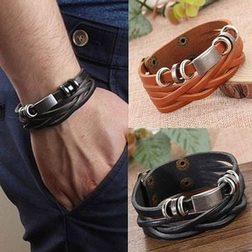 Mens Vintage Multilayer Braided Faux Leather Bangle Cuff Bracelet Wristband