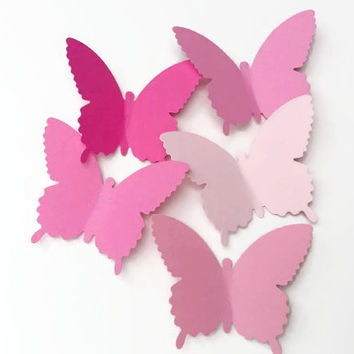 50 Large Pink Butterfly Die Cuts, Paper Butterfly, Butterfly Decorations, Baby Shower Decor, Butterfly Party