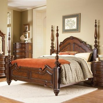 Homelegance Prenzo Poster Bed in Warm Brown