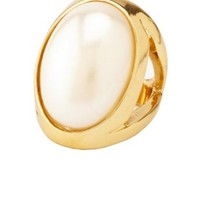 Oversized Faux Pearl Cocktail Ring by Charlotte Russe - Gold