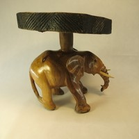Bali Hand Carved Elephant Drink Table or Stool Solid Wood 1920's