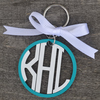 Circle Monogram Keychain Acrylic Personalized Key Chain Preppy