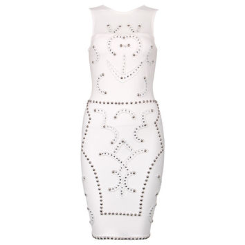 White Studded Bandage Dress