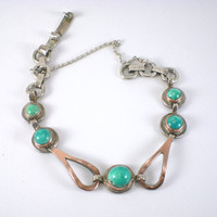 Turquoise  Bracelet Sterling Silver Bracelet  With Rose Gold Vintage Jewelry Mod Jewelry