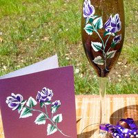 Purple Roses Painted Champagne Glass and Matching Card Gift Set