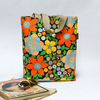 Floral Retro Shopping Bag  - colorful  reusable grocery Tote - Handmade with Love from Vintage Fabrics