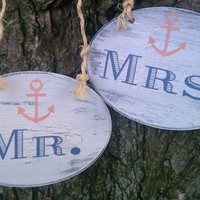 NAUTICAL WEDDING Signs with ANCHOR Mr. & Mrs. Beach Wedding, Military Weddings, Ship Weddings