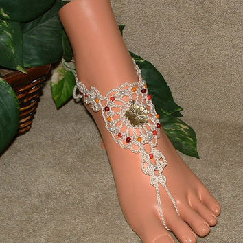 Crochet Cherry Blossom Barefoot Sandals, Charms, Flower Jewelry, Anklet, Footless, Sandles, Sandal, Bottomless, Shoes, Beach, Beachwear
