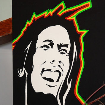 Bob Marley Painting acrylic hand painted om pop art music icon