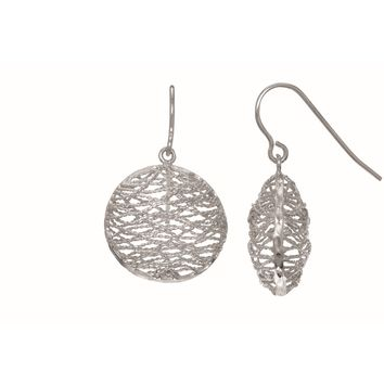 Silver with Rhodium Finish 20.5X30mm Shiny Diamond Cut Casted Filigree Mesh Type Oval Ish Drop EarrinG with J Hook
