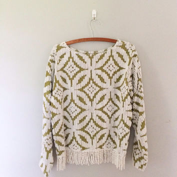 Vintage Chenille Top / green and white novelty top