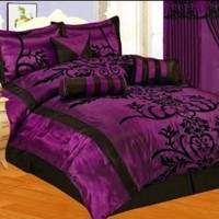 Amazon.com: 7 PC MODERN Black Purple Flock Satin COMFORTER SET / BED IN A BAG - QUEEN SIZE BEDDING: Home & Kitchen