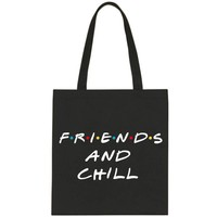 "Friends TV Show / F.R.I.E.N.D.S ""Friends and Chill"" Tote Bag"