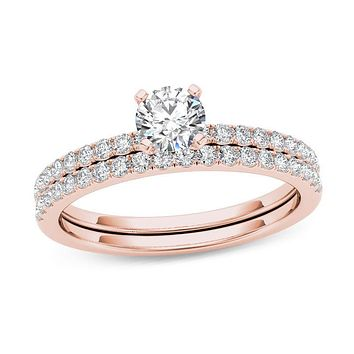 3/4 CT. T.W. Diamond Bridal Engagement Ring Set in 14K Rose Gold