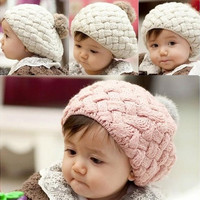 New Cute Winter Knit Crochet Beanie Hat For Baby Kids Girls Boys Gift 3Colors