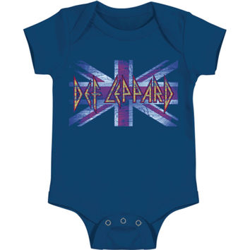 Def Leppard Boys' Lil' Union Jack Bodysuit Blue