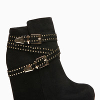 Bamboo Double Buckle Debrah Black Wedge