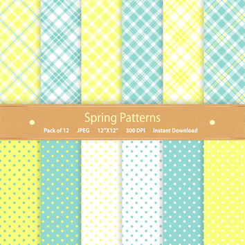 Spring Digital Paper Pack Spring Patterns Spring Paper Plaid Polka Dot Spring Scrapbook Digital Scrapbook Pape Commercial Use Blue Yellow