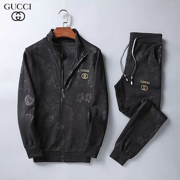 Gucci Fashion Cardigan Jacket Coat Pants Trousers Set Two-Piece