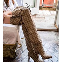 GUCCI Winter Classic Trending Stylish Lisa Leather-Trimmed Logo-Jacquard Over-The-Knee Boots High Heels