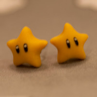 Nintendo Mario Star Earrings Backorder Backorder by lizglizz