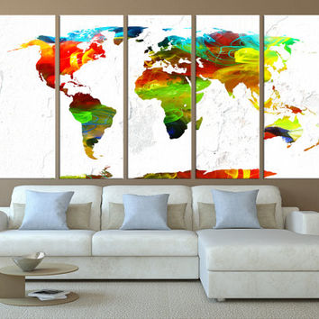 colorfull world map canvas wall art, large world map,  rustic world map extra large canvas art textured background, t431