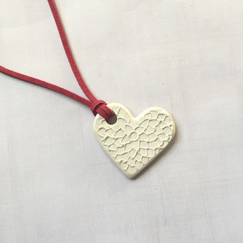 White Heart Terracotta Diffuser Necklace - Essential Oils - Faux Suede, Satin Cord - unglazed Terra Cotta Clay Pendant Indian Flower Mum