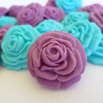 Radiant Orchid Edible Sugar Fondant Flower Roses, Wedding Cake Cupcake Topper, Favor Candy, Purple Blue, Summer Beach Wedding Gift- set 50
