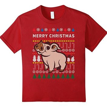 Farm Animals The Pig Merry Christmas Ugly Sweater T-shirt