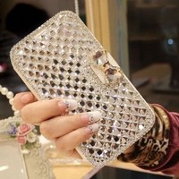 Hongyada BBBBK-094 Bling Diamond Bowknot Leather Case for Samsung Galaxy S5 Bundle with Stylus and Soft Clean Cloth -Silver / White