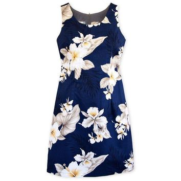 Hibiscus Joy Navy Short Hawaiian Tank Dress