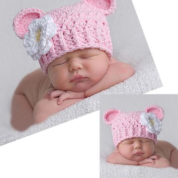 Newborn Baby Girls Knitted Flower Crochet Beanie Hat