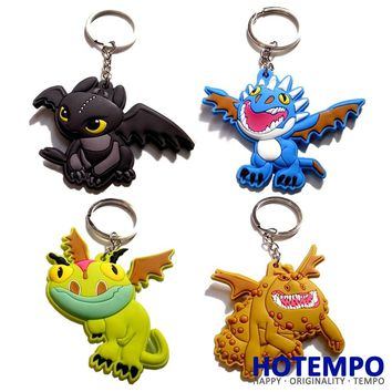 HOTEMPO Soft PVC Toothless Night Fury Deadly Nadder Gronckle Terrible Terror Keychain Toys How To Train Your Dragon Pedant Toy