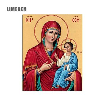 Frameless Oil Painting Virgin Mary Jesus Wall Art Orthodox Icon Religi Oil Painting By Numbers Canvas DIY Modular Painting