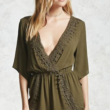 Crochet Trim Surplice Romper