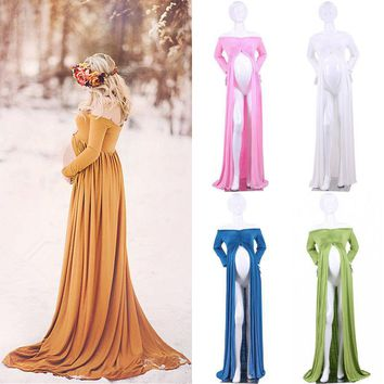 Pregnant Women Maternity Clothes Cotton Maternity Dresses for photo shoot Photography Prop Maxi Dress One Size