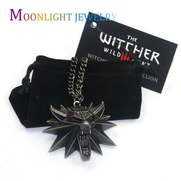 2016 Vintage Bronze Wolf Head Necklace Wizard Witcher 3 Medallion Pendant Necklace The Wild Hunt 3 Figure Game C3