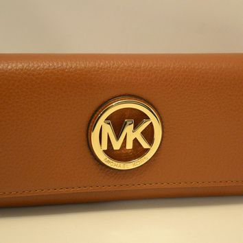 NWT MICHAEL KORS LEATHER FULTON CONTINENTAL FLAP WALLET LUGGAGE